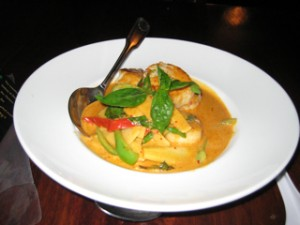 Scallops with red curry